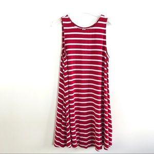 Old Navy Red White Midi Sleeveless Dress Stripes